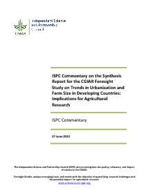 ISPC Commentary on Synthesis Report - Urbanization and Farm Size