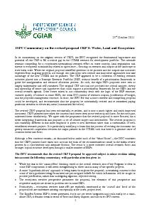 ISPC Commentary on the Revised Proposal for CRP 5 - October 2011