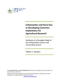 Synthesis Report - Urbanization and Farm Size