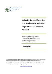 Urbanization and Farm Size Changes: Implications for Livestock Research