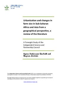 Urbanization and Changes in Farm Size in Sub-Saharan Africa and Asia