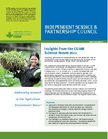 Insights from the CGIAR Science Forum 2011: Brief 41