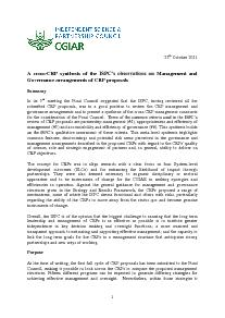 Cross-CRP synthesis - CRP Management and Governance Arrangements