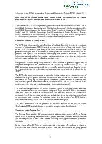 ISPC Note on the Proposal for Financial Support to the CGIAR Centre Genebanks