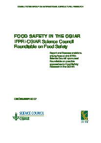 Food Safety in the CGIAR: IFPRI-CGIAR Science Council Roundtable on Food Safety
