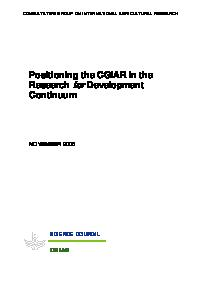 Positioning the CGIAR in the Research for Development Continuum