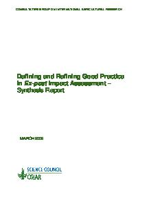 Defining and Refining Good Practice in Ex-post Impact Assessment