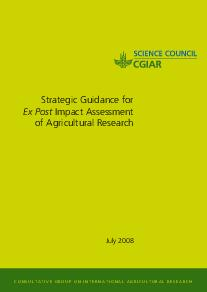 Strategic Guidance for Ex Post Impact Assessment of Agricultural Research