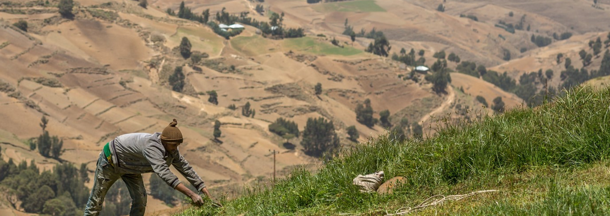 Man managing sloping land in Yewol Highlands